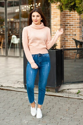 CNS Eskitme Detay Mom Jeans