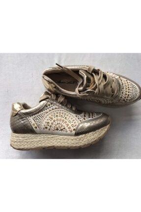ANNIE HALL Kadın Ayakkabı Taş İşlemeli Keten Görünümlü