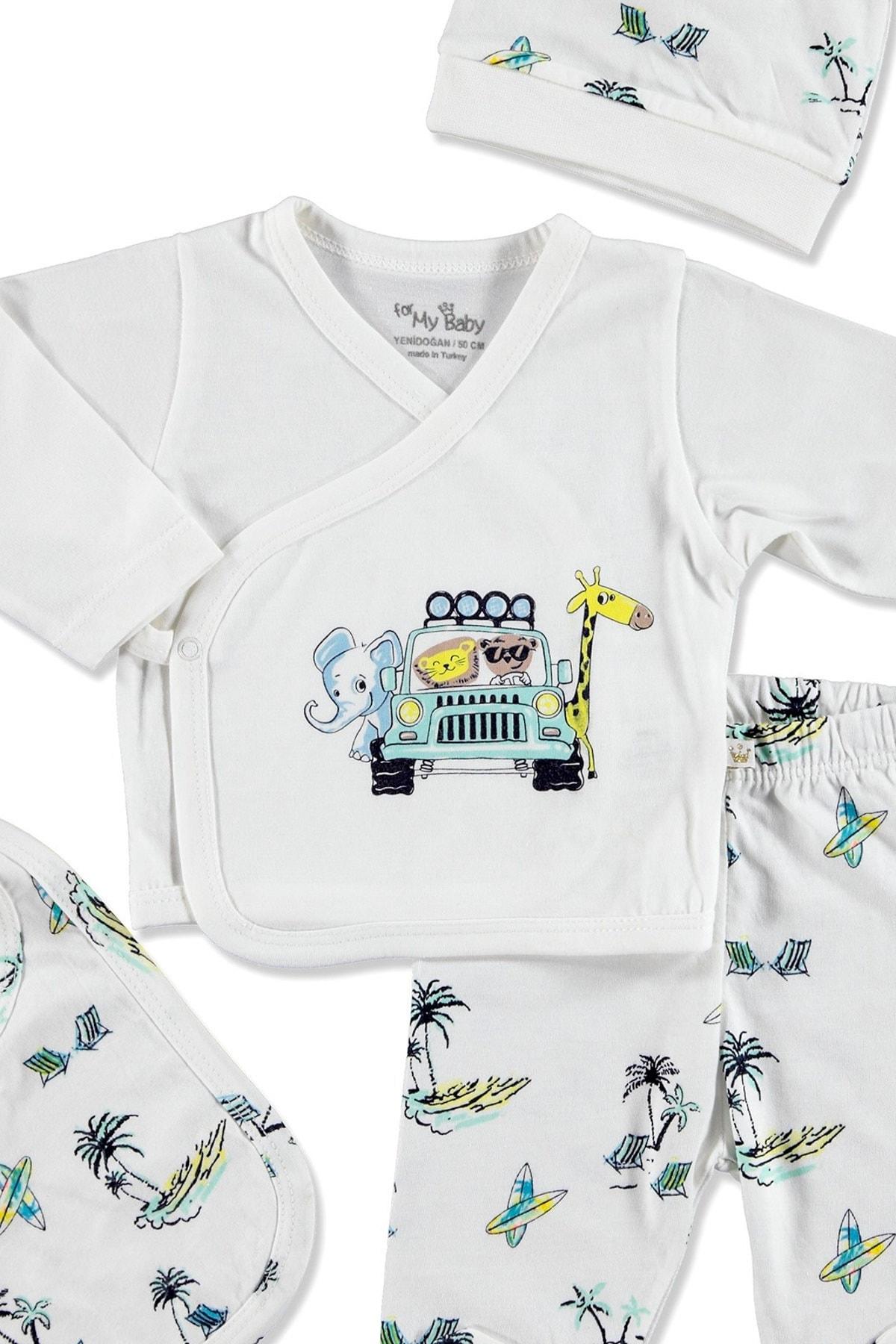 For My Baby 20902 Sörf Pamuklu Erkek Bebek 5'li Hastane Çıkışı 2
