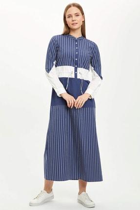 DeFacto Çizgi Detaylı Büzgülü Dokuma Poplin Elbise