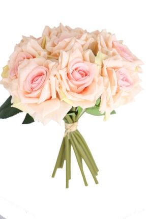 Yapay Çiçek Deposu 10lu Lüx Gul Demeti 25 Cm Pudra Pembe