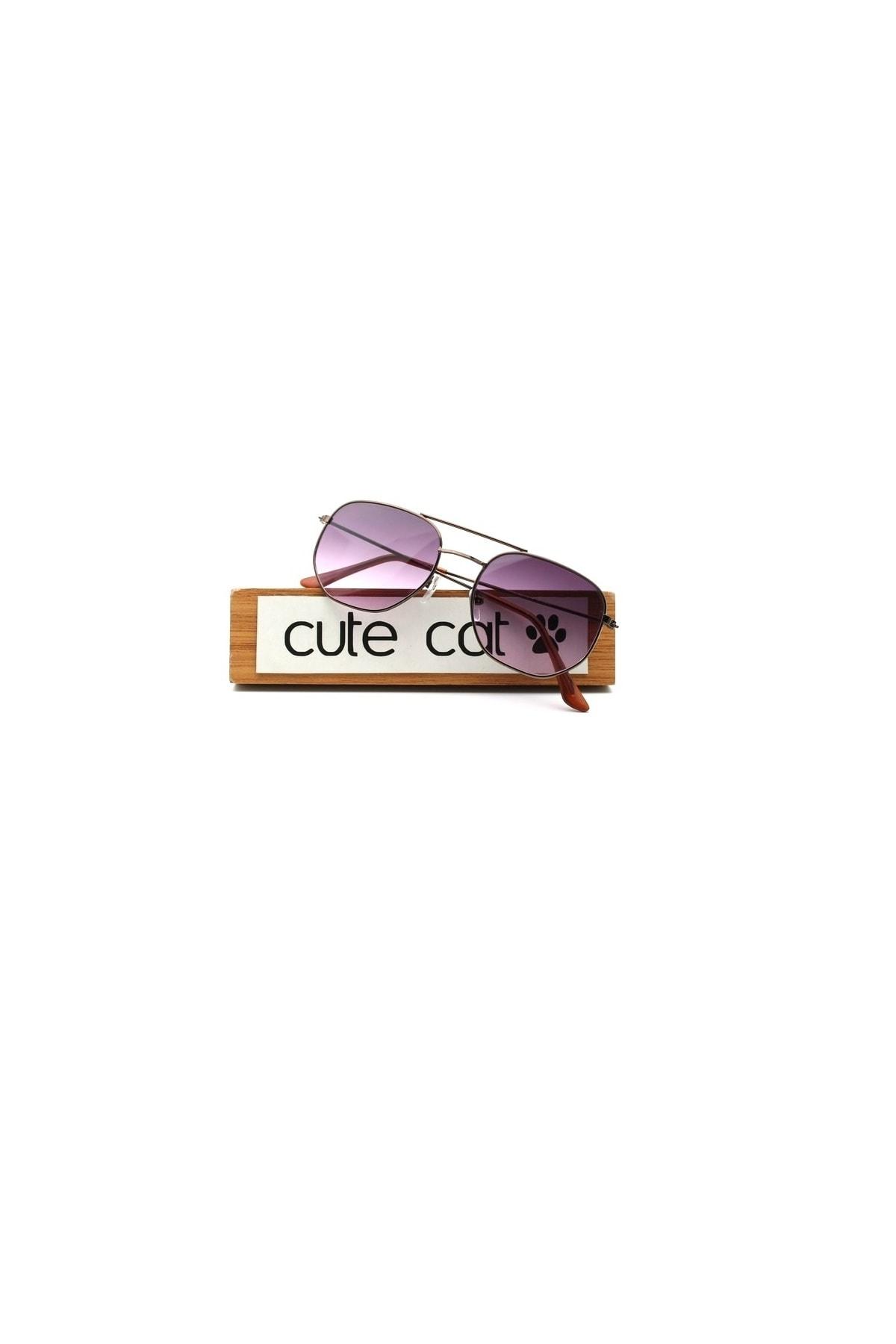 CUTE CAT Hidra Purple Degrade Small Hexagon Unisex Güneş Gözlüğü 1