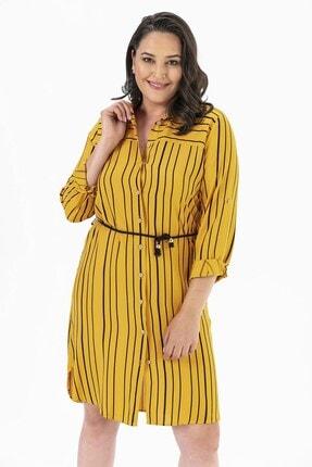 By Saygı Çizgili Düğmeli Büyük Beden Tunik Elbise Sarı