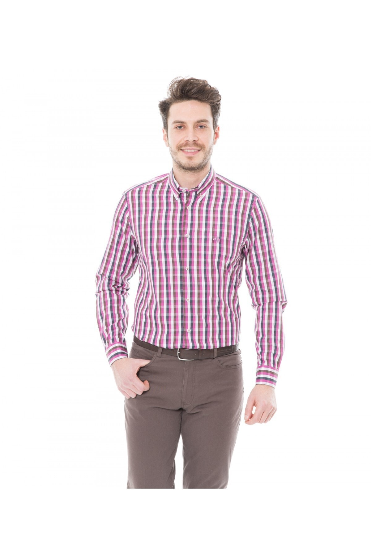 Karaca Erkek Slim Fit Casual Gömlek Fuşya 1