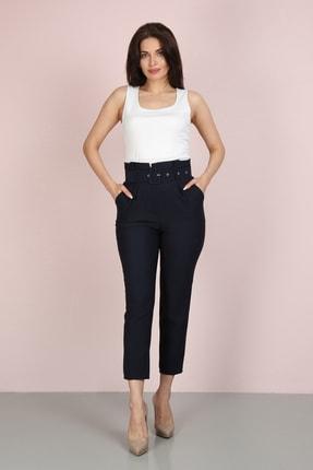 ChiChero Kadın Lacivert Havuç Pileli Kalın Kemerli Kumaş Pantolon