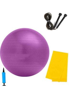 Liggo 65 Cm Pilates Topu Pilates Bantı Atlama İpi Pompa Seti Karışık Renk