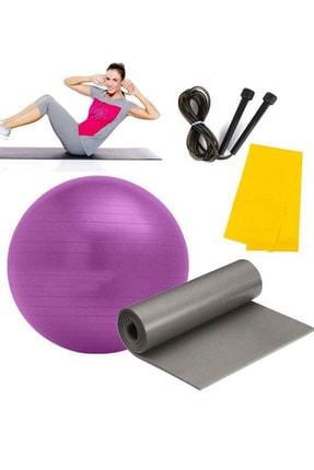 Liggo 65 Cm Pilates Topu Pilates Minderi Pilates Bantı Atlama İpi Seti Karışık Renk