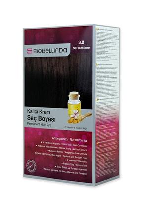 BioBellinda Amonyaksız Kalıcı Krem Saç Boyası - 3.0 Saf Kestane