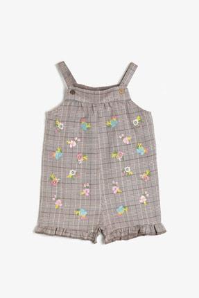 Koton Kids Kahverengi Ekoseli Kız Bebek Tulum