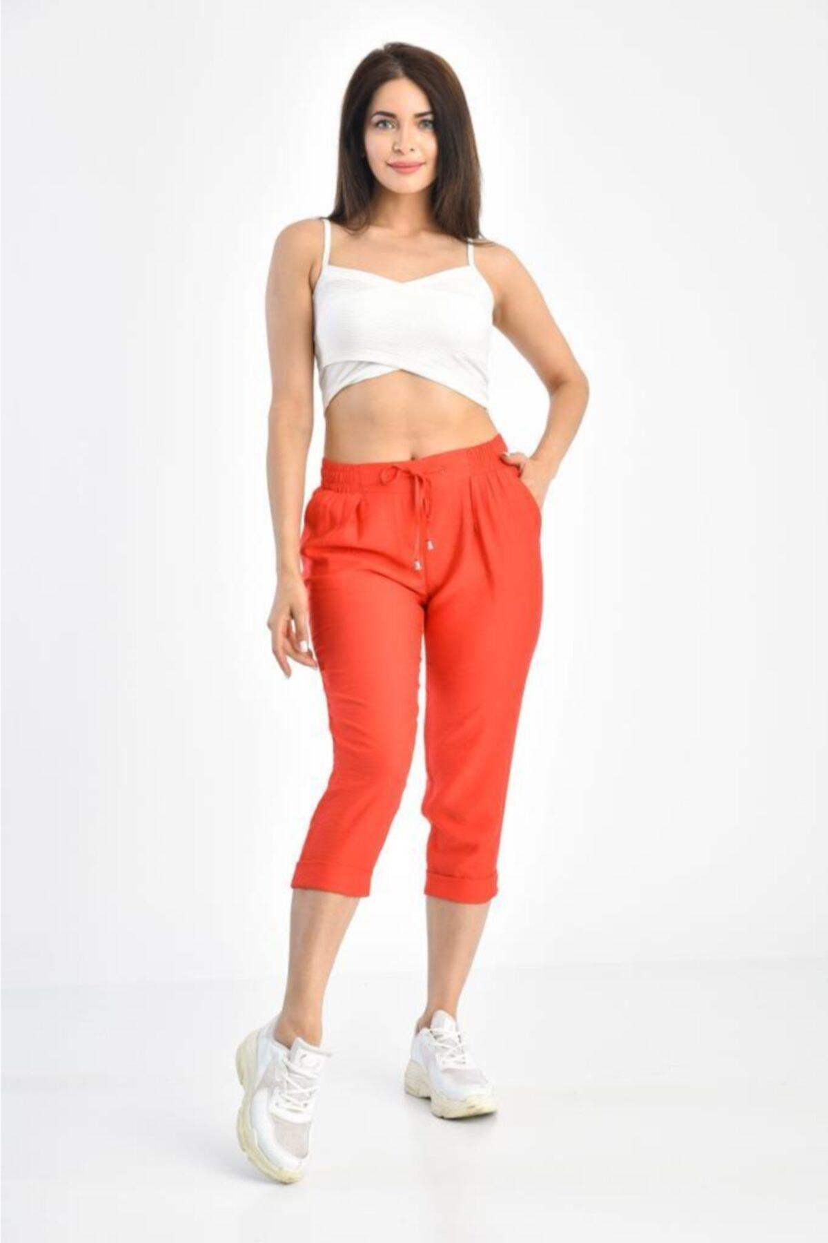Modkofoni Kadın Belden Lastikli Fuşya Kapri Pantolon 1