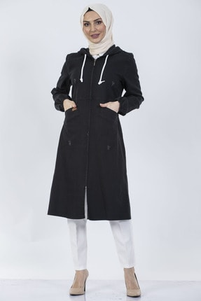 benguen O-7559 Kapüşonlu Kot Ceket-kap - Siyah