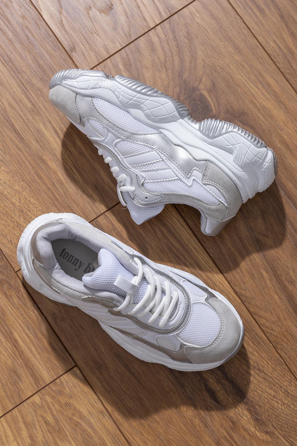 Tonny Black Kadın Spor Ayakkabı Beyaz Gri Tb246 1