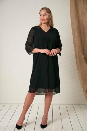 RMG Yaka Taş Detaylı Büyük Beden Siyah Elbise
