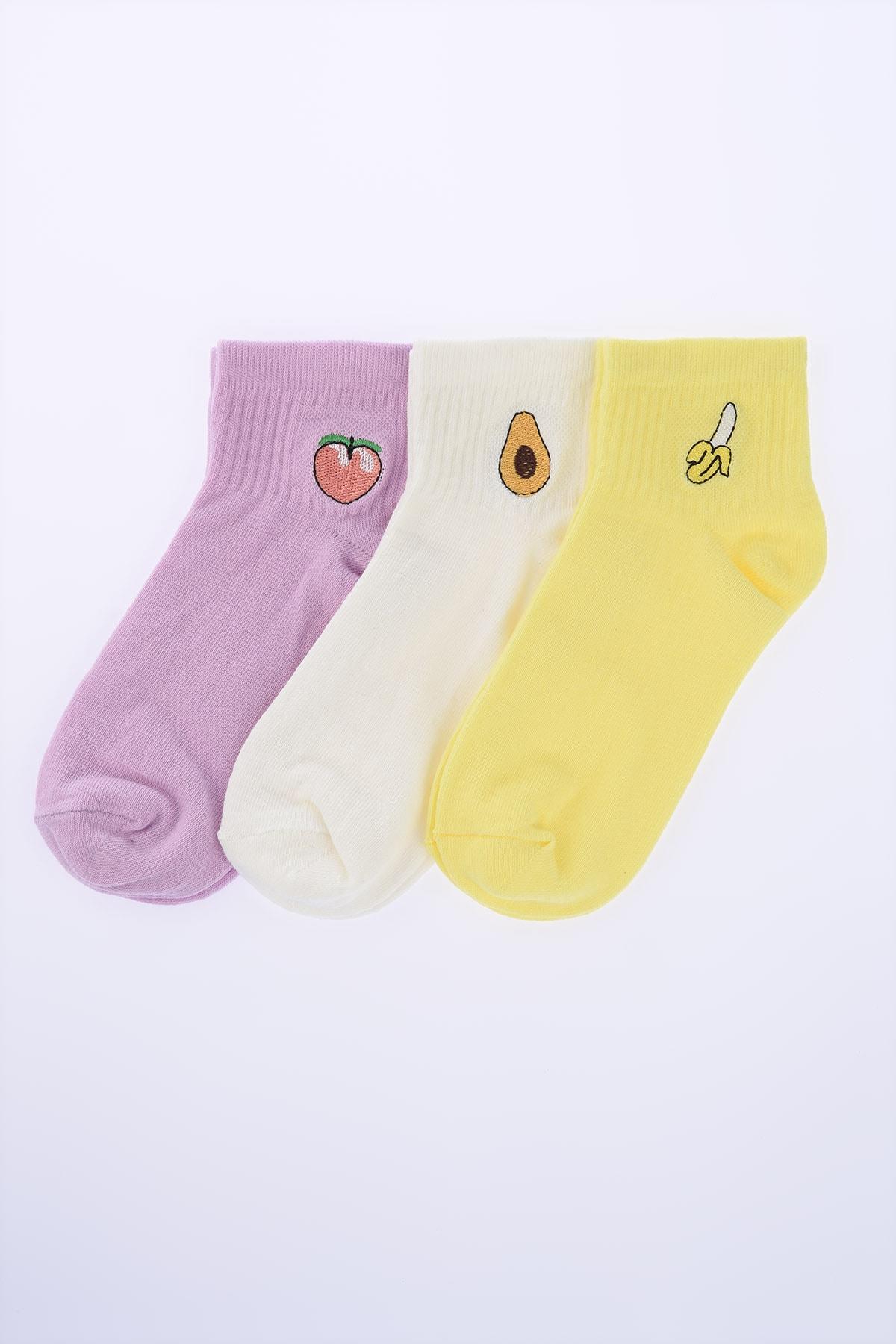 TRENDYOLMİLLA Çok Renkli Nakışlı Örme Çorap TWOSS20CO0053 1