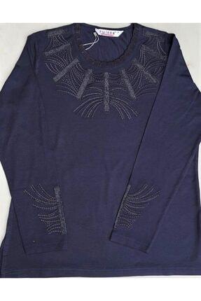Pelikan Büyük Beden Penye Bluz Uzun Kol Renk Lacivert