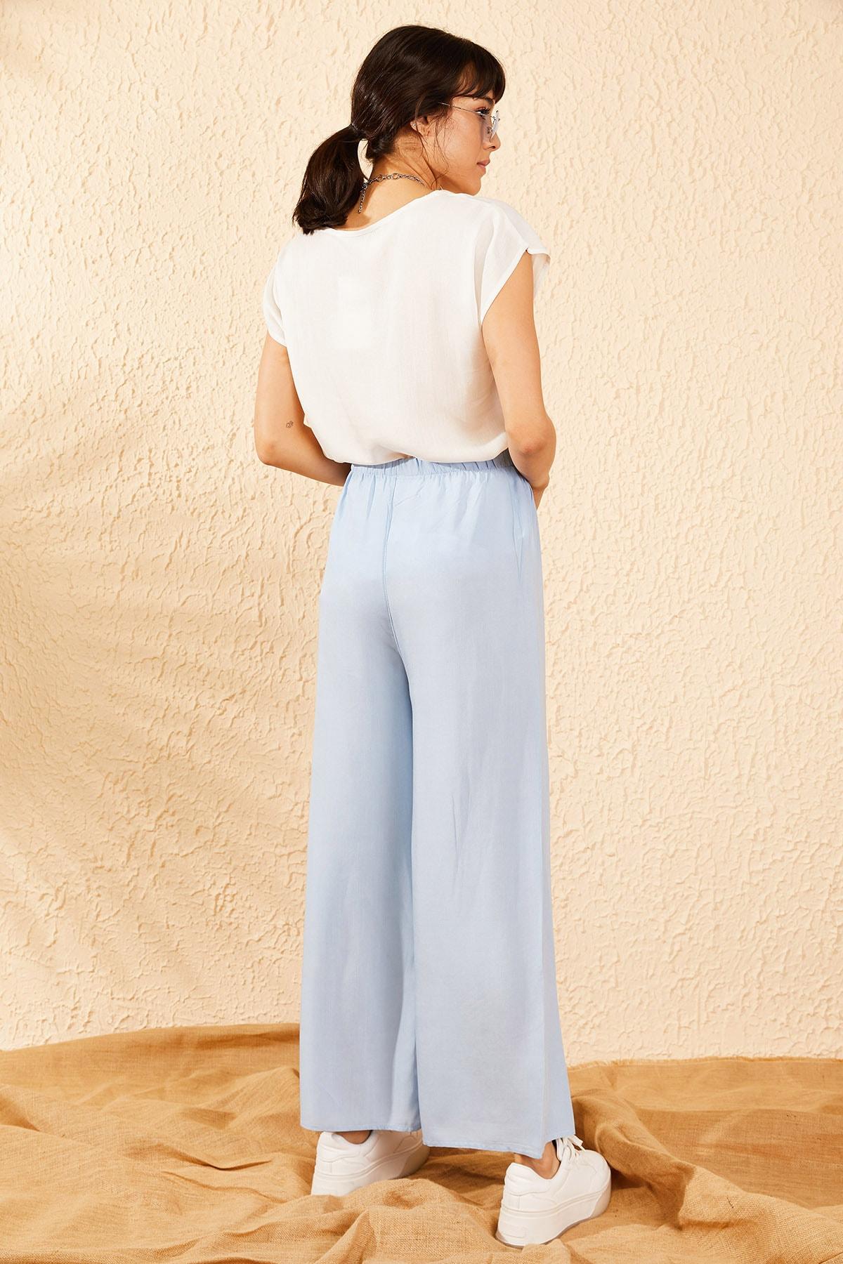 Bianco Lucci Kadın Buz Mavisi Beli Kuşaklı Bol Paça Viskon Pantolon 10061050 2
