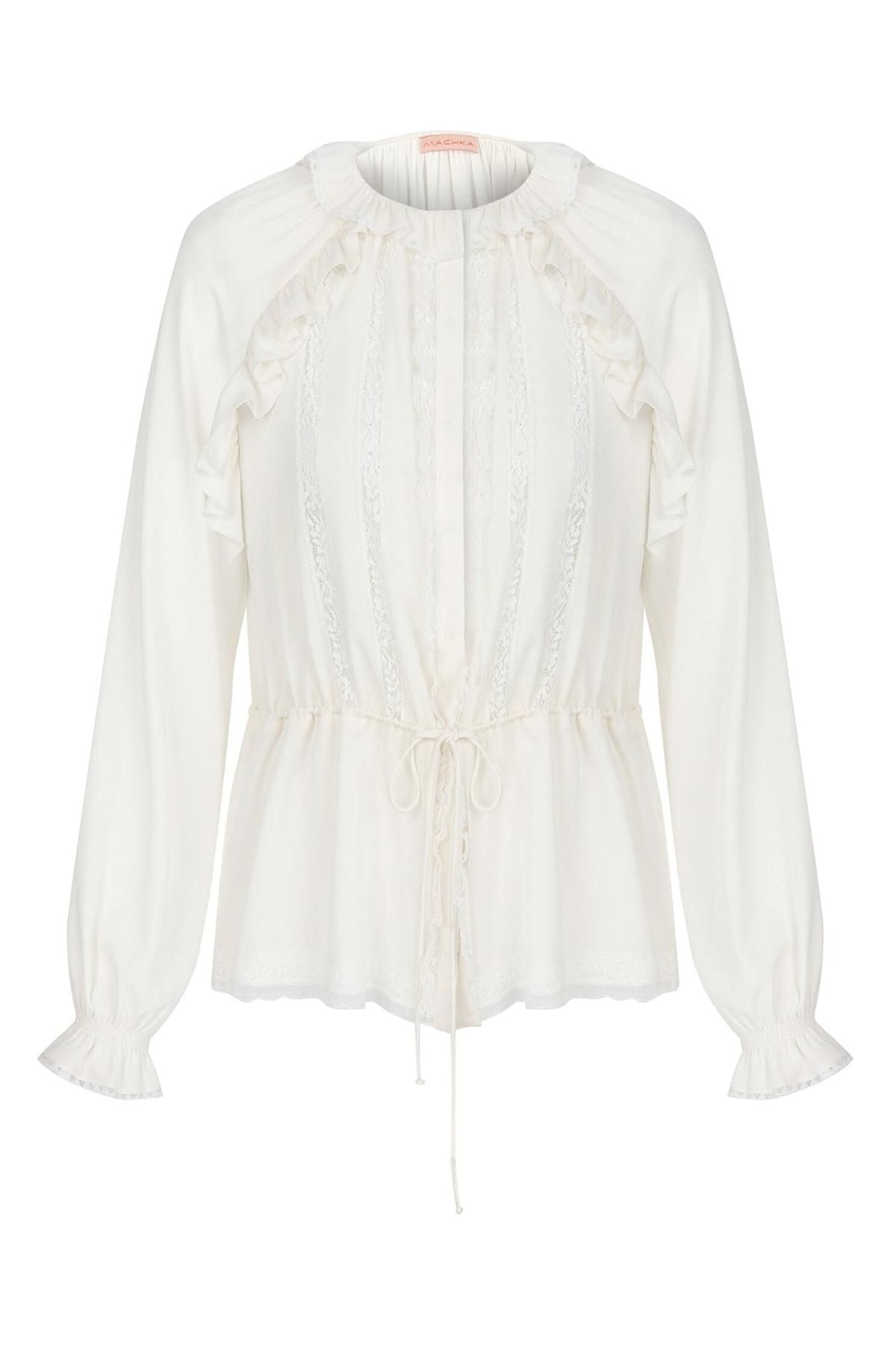 Machka Kadın Beyaz Dantel Ve Fırfır Detaylı İpek Bluz MS1200006023096