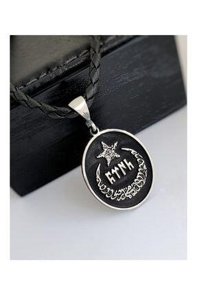 Gümüş Pazarım Göktürkçe Türk Yazılı Ay Yıldız Gümüş Erkek Kolye