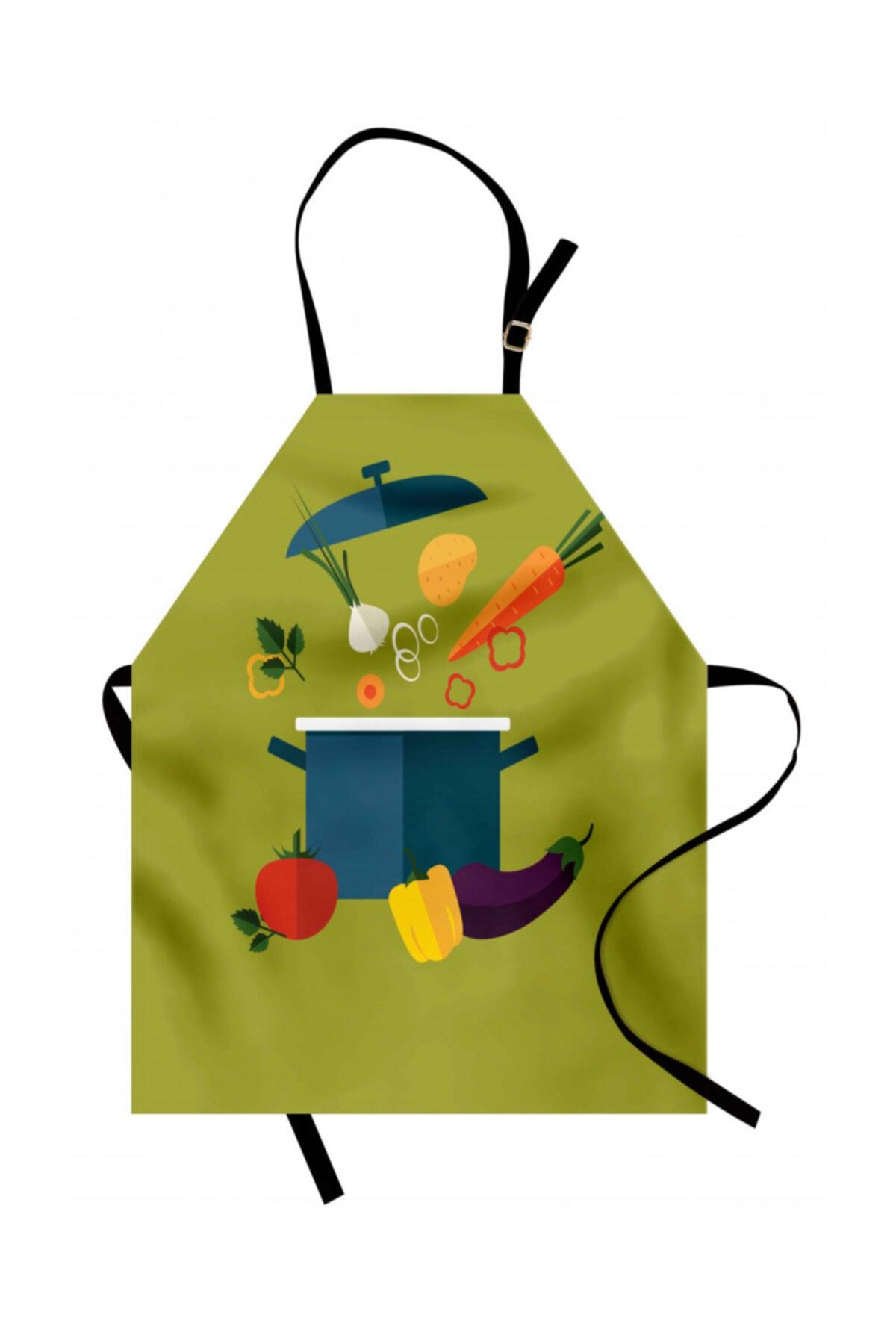 Orange Venue Yiyecek Mutfak Önlüğü Tencere İçinden Çıkan Sağlıklı Gıdalar Rengirenk 1