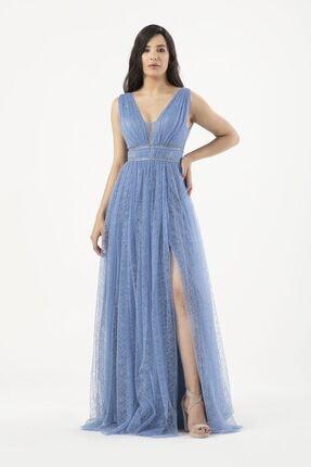 MAXXE Kadın Mavi Simli Tül Elbise