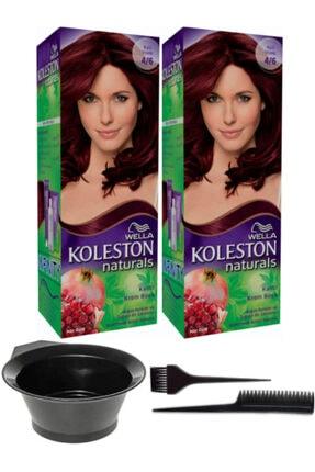 Wella 2'li Koleston Naturals 4/6 Kızıl Viyole Kalıcı Krem Saç Boyası Ve Saç Boyama Seti