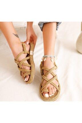meyra moda Kadın Altın Hasır Sandalet