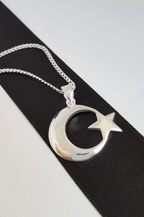 Gümüş Pazarım Ay Yıldız Motifli Gümüş Erkek Kolyesi