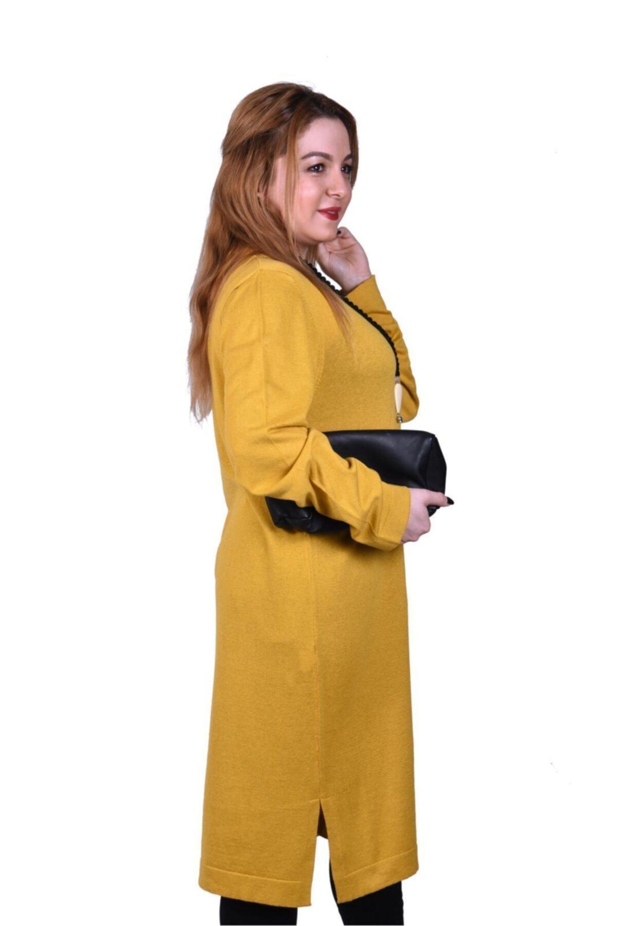 Novinza Kadın Büyük Beden Ince Örgü Basıc Triko Tunik-hardal 2