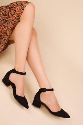 SOHO Siyah Suet Kadın Klasik Topuklu Ayakkabı 15054