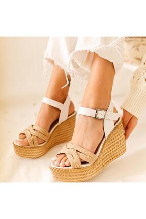 Limoya Margo Beyaz Çapraz Hasır Bantlı Dolgu Topuklu Sandalet