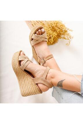 Limoya Margo Çapraz Hasır Bantlı Dolgu Topuklu Sandalet