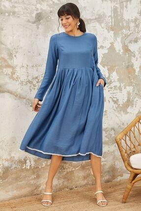 Mispacoz Uzun Kol Ayrobin Elbise Indigo