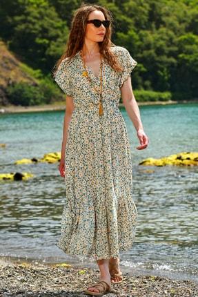 Trend Alaçatı Stili Kadın Mint Çiçek Desenli Kruvaze Maxı Boy Elbise ALC-X4373