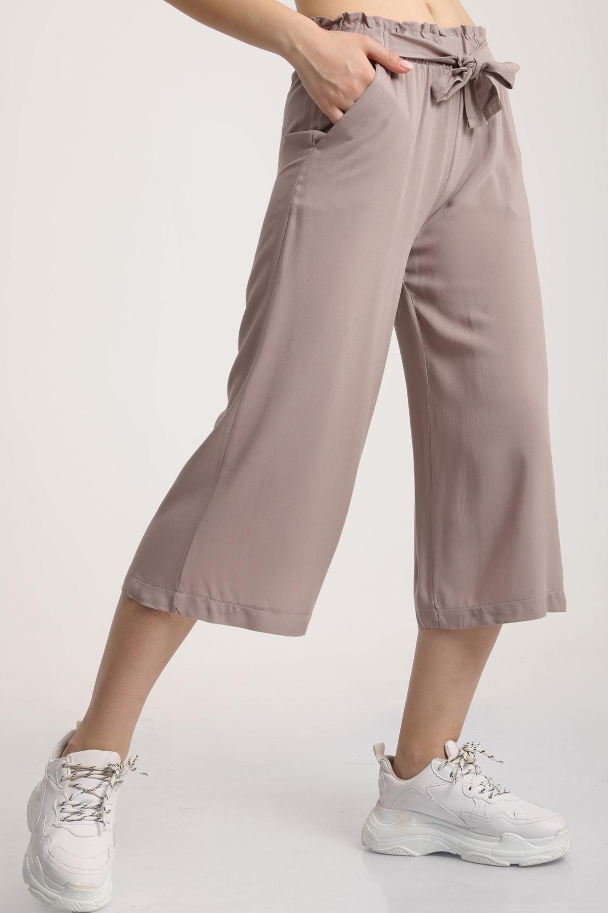 MD trend Kadın Taş Bel Lastikli Bağlamalı Kısa Pantolon Mdt5979 1
