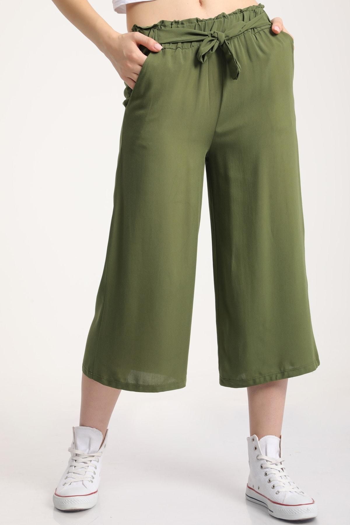 MD trend Kadın Koyu Yeşil Bel Lastikli Bağlamalı Kısa Pantolon Mdt5979 1