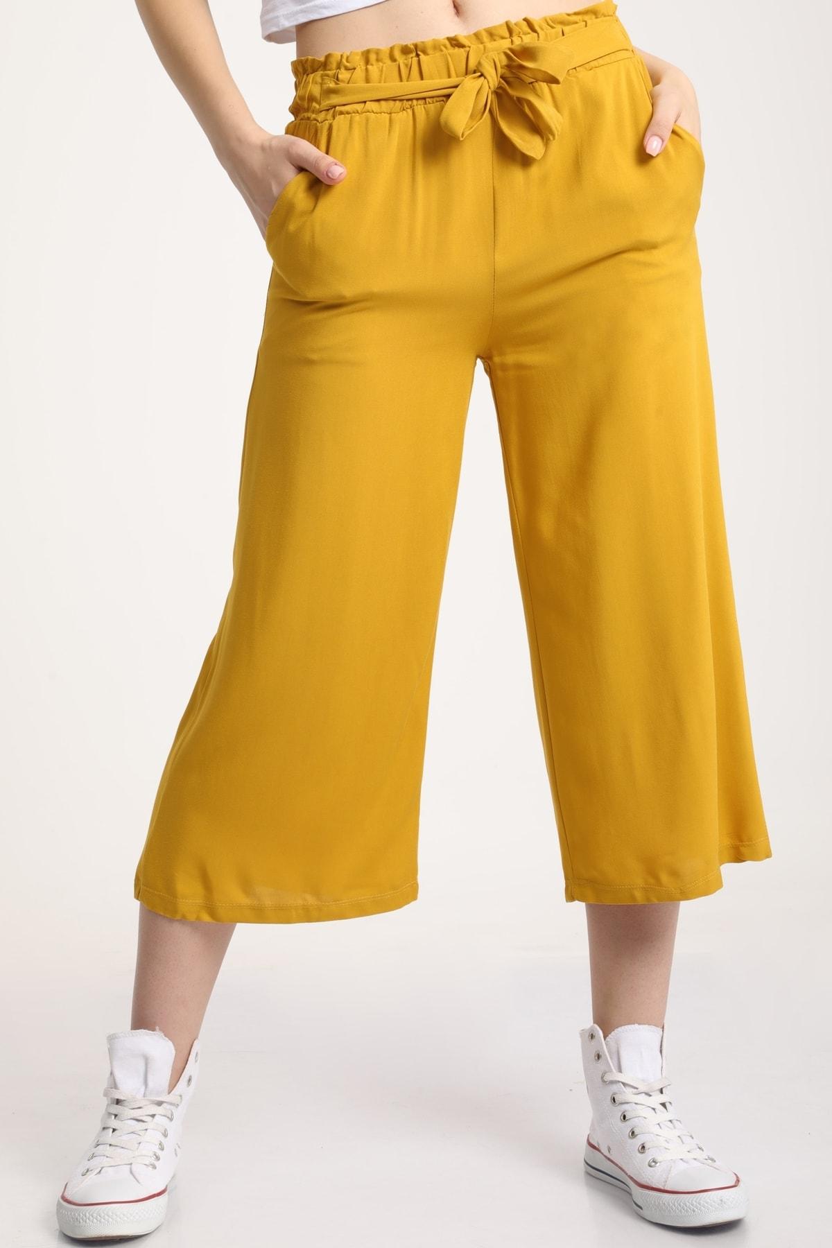 MD trend Kadın Hardal Bel Lastikli Bağlamalı Kısa Pantolon Mdt5979 1