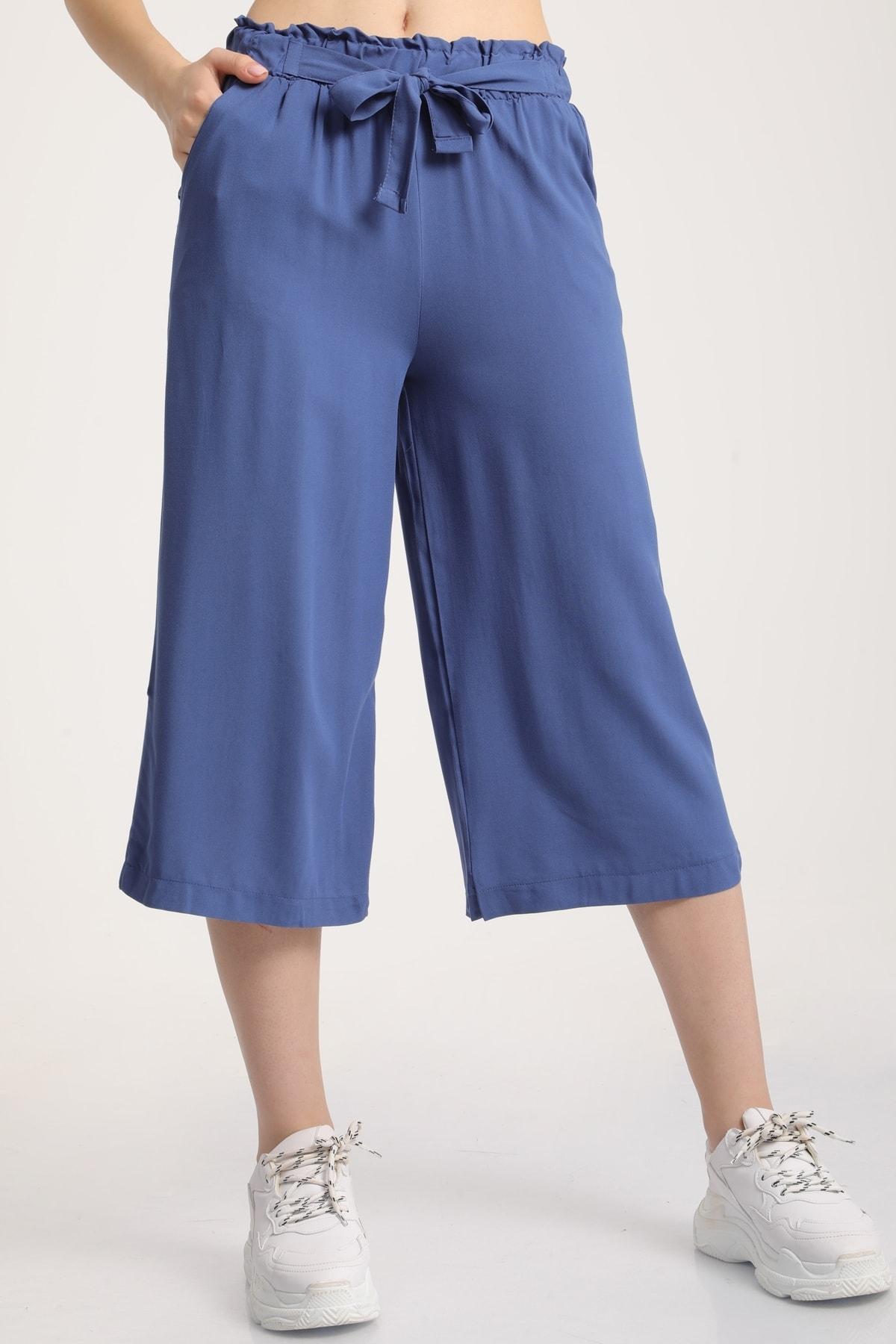 MD trend Kadın Indigo Bel Lastikli Bağlamalı Kısa Pantolon Mdt5979 2