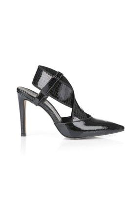 Oblavion Sara Siyah Payetli Çapraz Bantlı Topuklu Ayakkabı