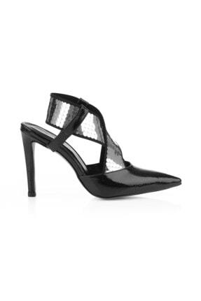 Oblavion Sara Gümüş Payetli Çapraz Bantlı Topuklu Ayakkabı