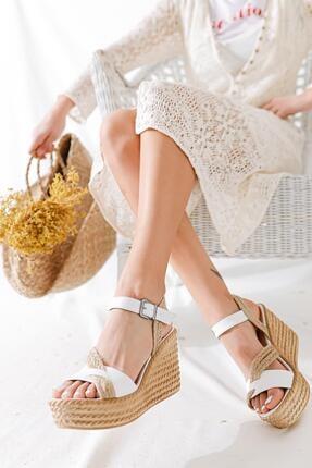 Limoya Kadın Beyaz Hasır Bantlı Dolgu Topuklu Ayakkabı