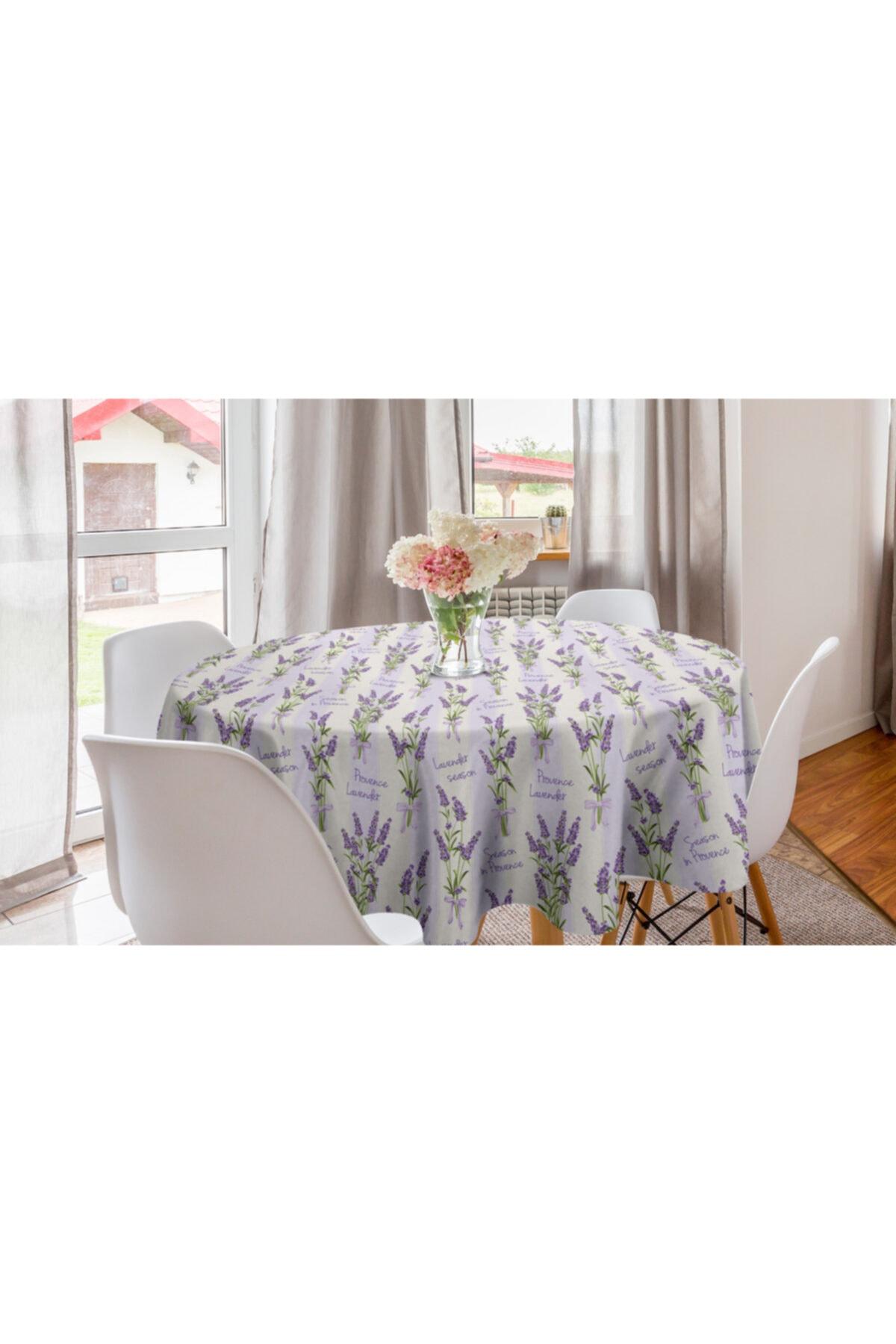 Orange Venue Çiçekli Yuvarlak Masa Örtüsü Lavanta Çiçekleri Romantik 1