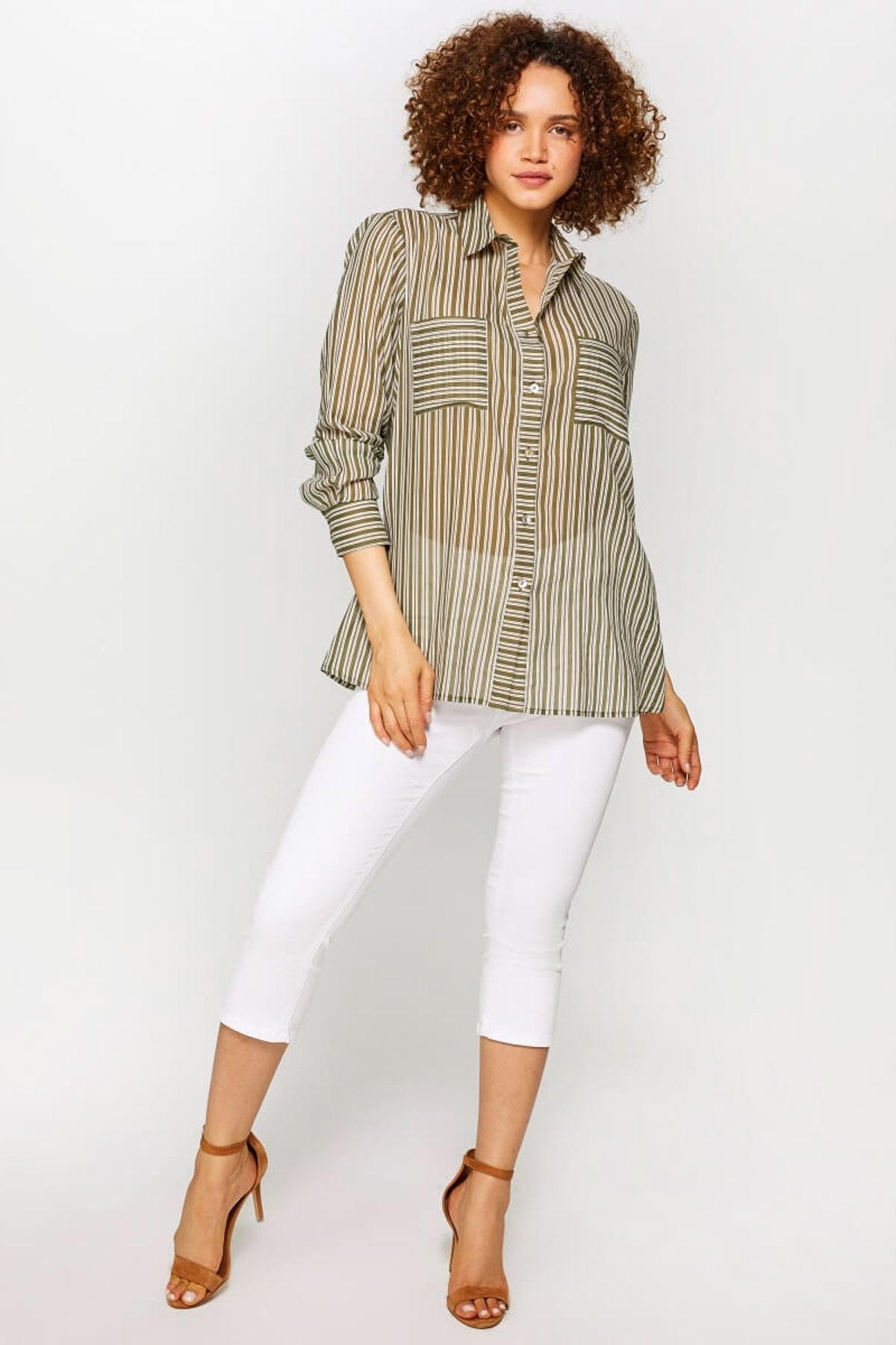 Faik Sönmez Kadın Çağla Çizgili Gömlek 60094 U60094 2