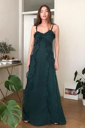 TRENDYOLMİLLA Yeşil Fırfır Detaylı  Abiye & Mezuniyet Elbisesi TPRSS20AE0228