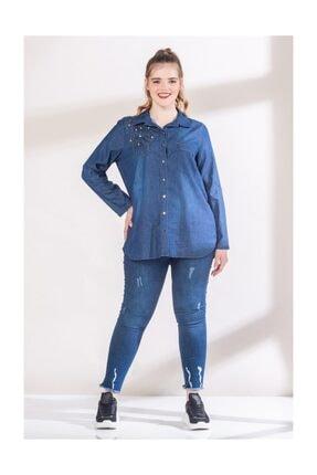 RMG Kadın Lacivert Yaka Taş İşlemeli Tensel Gömlek 6760