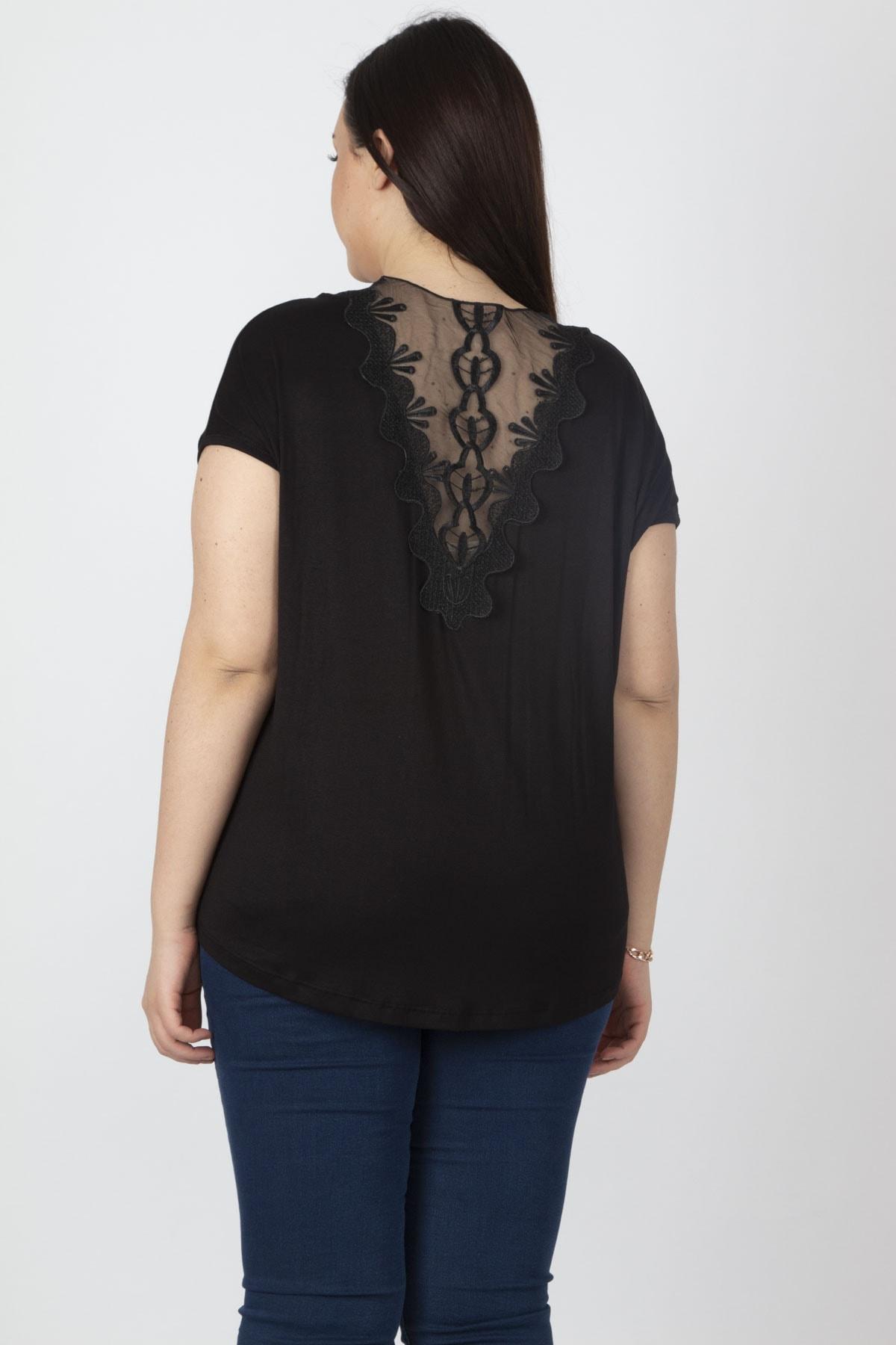 Şans Kadın Siyah Sırt Detaylı Bluz 65N16330 2