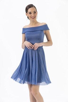 By Saygı Kayık Yaka Simli Kemerli Abiye Elbise Mavi