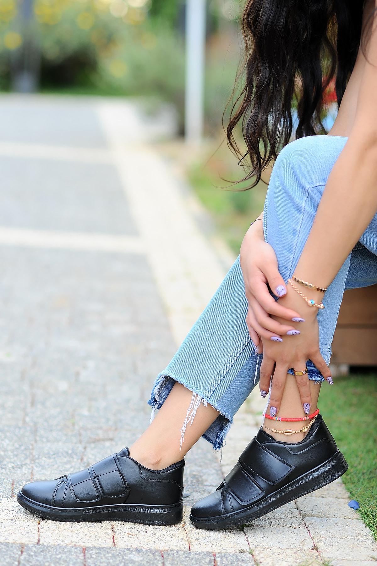 Pembe Potin Kadın Siyah Siyah Ayakkabı 2