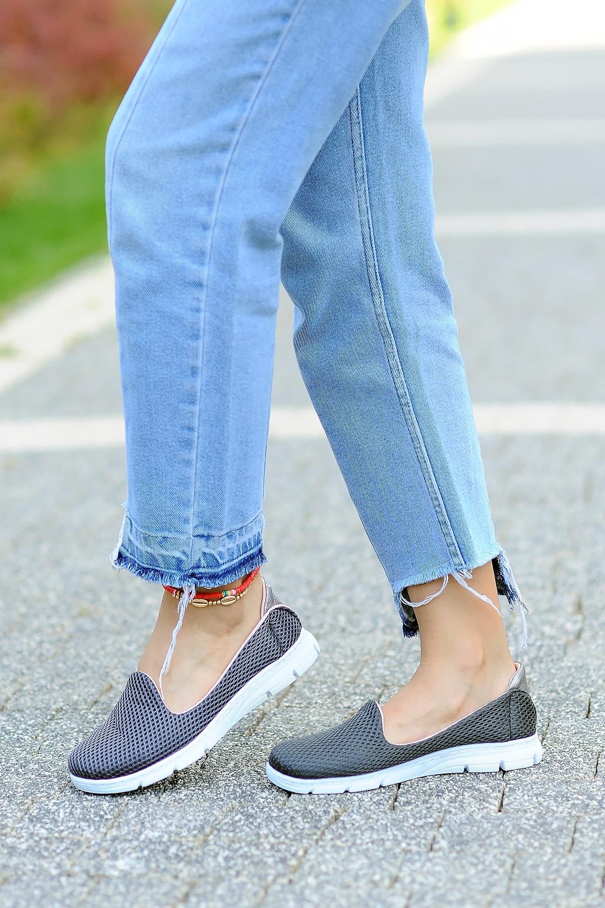 Pembe Potin Kadın Füme Ayakkabı 1