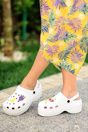 Pembe Potin Kadın Beyaz Sandalet