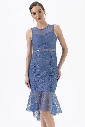 By Saygı Beli Dekolteli Dantel Elbise Mavi
